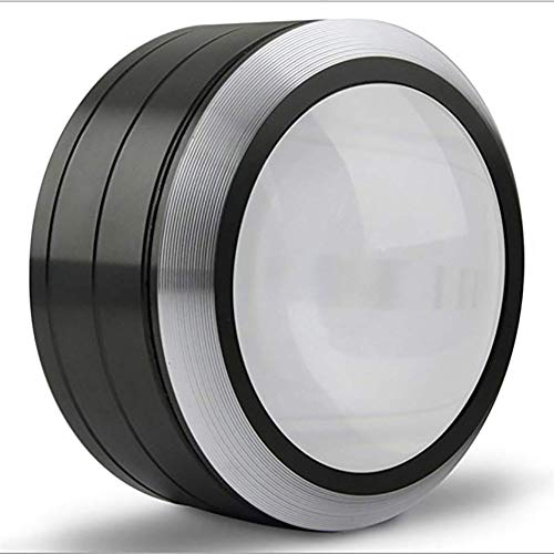 5X Zylindrische Desktop-Lupe Mit 3 LED-Leuchten, 72 Mm K9 Optische Linse, Leselupe, Leichtes Ausschalten, Batterie Sparen, Mit Stoßfester Tasche, Schmuck-Identifikationslupe,Schwarz -