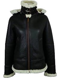 UNICORN Womens Sheepskin Flying Jacket - Brown And Cream - 'Air force' Aviator Leather coat #CF