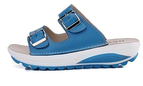 2017 nuovi sandali spessi di cuoio selvaggio di estate selvaggina antisdrucciolevole con i pistoni della parte piatta 1