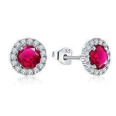 Idea Regalo - JO WISDOM orecchini argento 925 donna con AAA Zirconia cubica (orecchini color rubino)