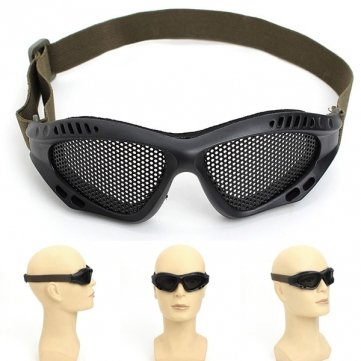 Souked Steel Mesh Goggles Tactical Airsoft Outdoor Protective No Fog Goggles