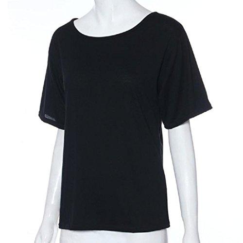 Sannysis Damen Sommer Kurzarm Bluse T-Shirt Schwarz