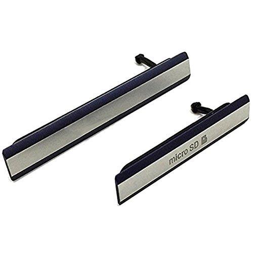 Klappen Schwarz (Hedywei Kappe Abdeckung Klappe für Sony Xperia Z2 D6502 D6503 D6543 Micro SD USB)