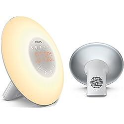Philips Eveil Lumière - HF3506/05 - Simulateur d'aube avec lampe LED (10 réglages) et interface tactile - Argent
