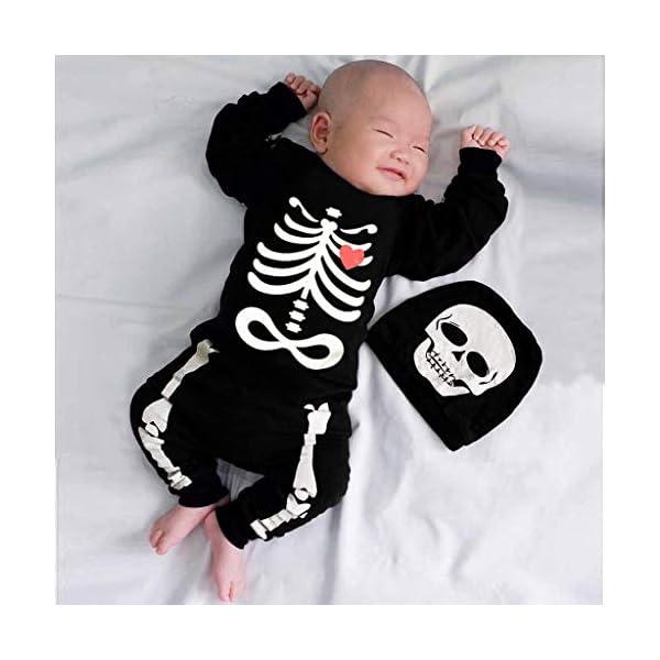 Shenye - Conjunto de Ropa para niños de 0 a 24 Meses, para recién Nacidos, niños y niñas, con Estampado de Hueso de Halloween, Mono y Sombrero, Conjunto de Trajes 2