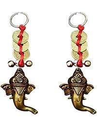 Ratnatraya Three Chinese Coins Tied In Red Ribbon Ganesha Head Set Of Two Key Chain | Feng Shui Spiritual Key-Ring...