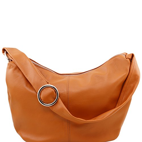 Tuscany Leather - Yvette - Beuteltasche aus Kalbsleder - TL140900 (Beige) Cognac