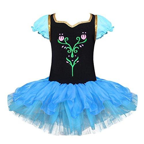 Tiaobug Mädchen Kleid Ballettkleid Prinzessin Kostüm Tanzkleid Ballettanzug Party Festzug Cosplay Schwarz+Blau (Kostüm Kleid Blau Und Schwarz)