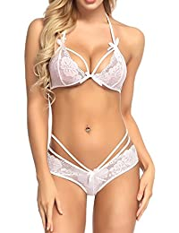 815991caaec4 RZS Lingerie Sexy Bra and Panties Sets for Women Strap Dress Lace Cup  Nightwear