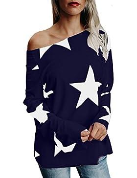 StyleDome Mujer Camiseta Estrella Otoño Invierno Mangas Largas Blusa Hombros Descubiertos Cuello Barco Elegante...