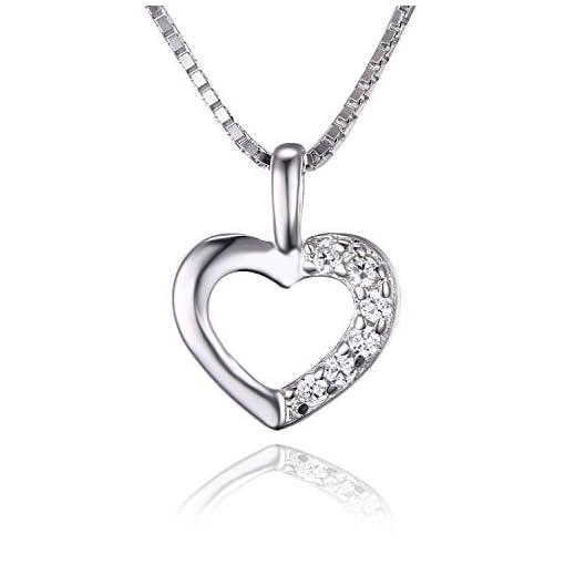 109443f7e5 JewelryPalace Donna Ragazze Gioiello Bella 0.06ct Cubic Zirconia Amore nel  Cuore Ciondolo Collana con Pendente Catena 43cm Argento Sterling 925 Regalo  di ...