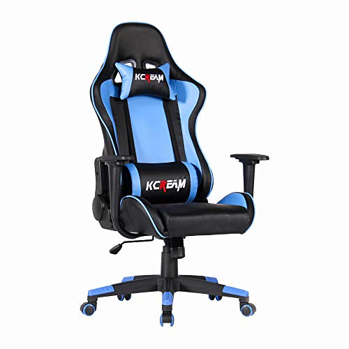 KCREAM Gaming Stuhl Ergonomischer Racing Gaming Sessel,Bürostuhl, Höhenverstellbarer Computerstuhl mit Kopfstütze und Lendenkissen (Blau-02)