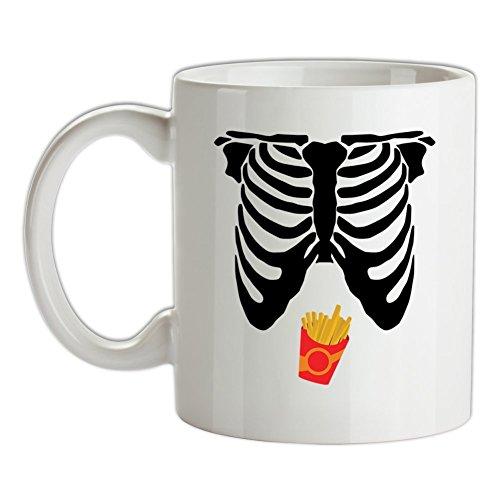 Skelett Pommes Bauch - Bedruckte Kaffee- und Teetasse