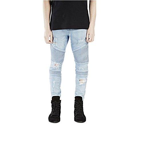 Herren Jeans Hose Denim Slim Fit Zerrissen Verwaschen Bootcut Jeanshose mit Löchern Biker Jeans Elastisch Hellblau 29 (Verwaschene Cool Jeans)