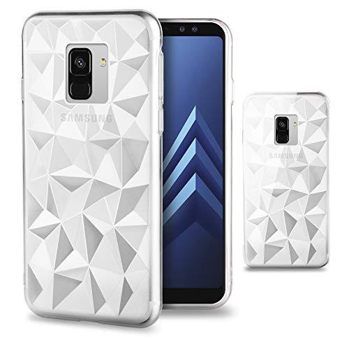 Moozy Cover Silicone per Samsung A8 2018 / A5 2018, Trasparente - Diamond Prism Pattern Custodia Slim 3D Crystal Piramide Case