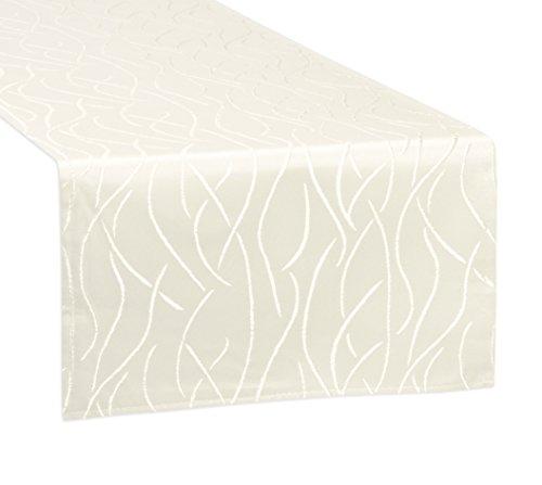 Tischläufer, FARBE und GRÖßE wählbar, Streifen Tischband, eckig 40x160 cm, Creme, Beautex