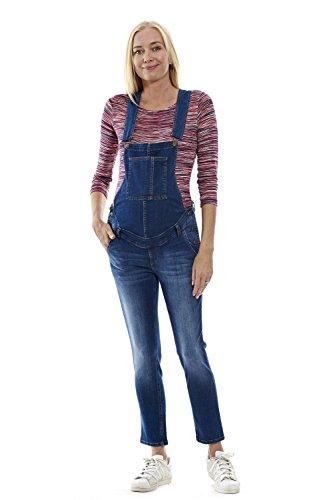 MOTHERWAY Damen Umstandshose Latzhose Jeans Baumwolle Schwangerschaft Trägerhose (Medium)