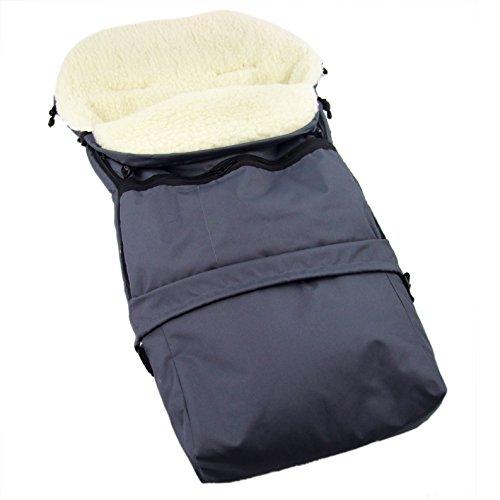 Rawstyle Winterfußsack 3 in 1 aus LAMMWOLLE (Dunkelgrau) 110cm oder 85cm für Kinderwagenschale,...