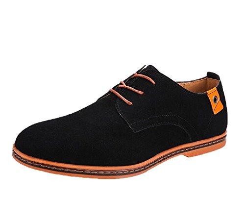 Zapatos Vestir Hombre Oxford Cuero Derby Casual Ante Cordones Punta Boda Verano Negocios Formales Moda Casuales Calzado Azul Negro Marron Rojo 38-48 BK46