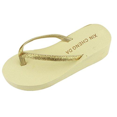 Malloom® Sandalen, Sommer Frauen-Plattform-Flipflops-Zapfen-Wedge-Strand-Sandelholz-Schuhe Beige-2