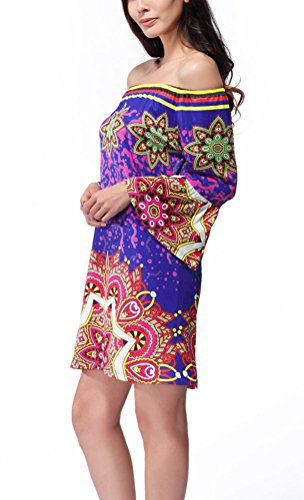SMITHROAD Damen Minikleid mit Muster Boho Tunika 3/4 Arm mit Stretch Bunt 27