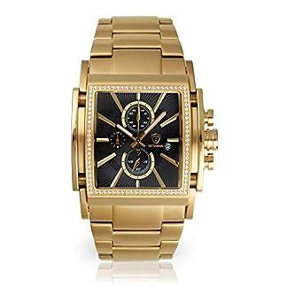 Detomaso San Leone de Hombre Reloj de Pulsera Cronógrafo analógico de Cuarzo de Oro Correa de Acero Inoxidable Esfera Negra dt1081de F
