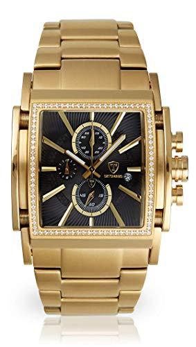 DETOMASO SAN Leone Herren-Armbanduhr Chronograph Analog Quarz Edelstahlgehäuse - Jetzt mit 5 Jahren Herstellergarantie (Edelstahl - Gold)