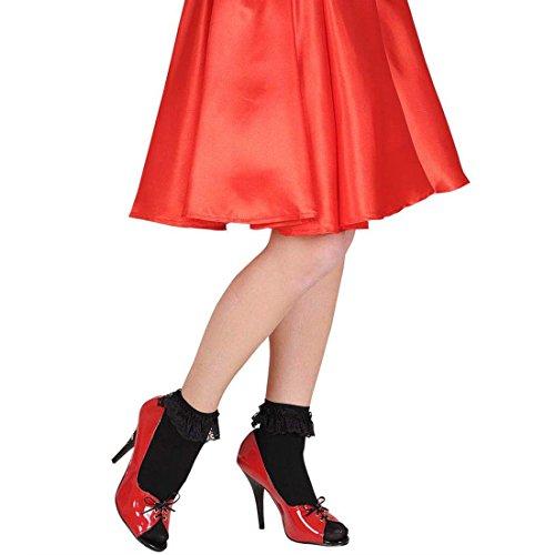 Süße Schwarze Rockabilly Rüschensocken Spitze Söckchen Vintage Knöchelsocken Garde Rüschen Socken Rock n Roll Strümpfe 50er 60er Jahre Kostüm (Jahre Süßes 50er Kostüme)