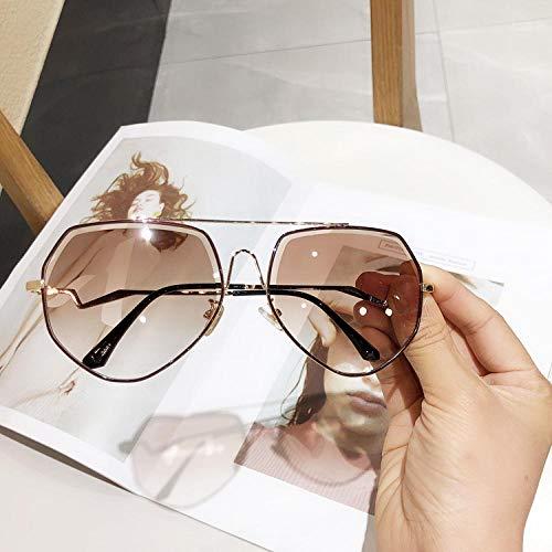 Sonnenbrille Frau Polygonale Street Shot Big Frame, Spiegel Runde Gesicht Mode Sonnenbrille Fahrer Fahren Okular Spiegel Sonnenbrille-5
