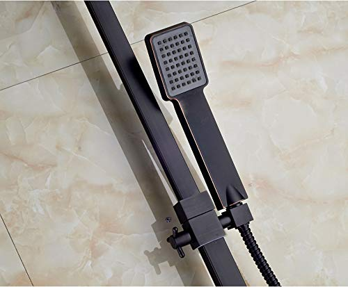 SHIJING Dusch-Wasserhahn, drehbar, quadratisch, 20,3 cm, Regendusche, Duschkopf, Bad, Dusche, Mischbatterie, 3-Wege-Mischbatterie, Schwarz 1 -