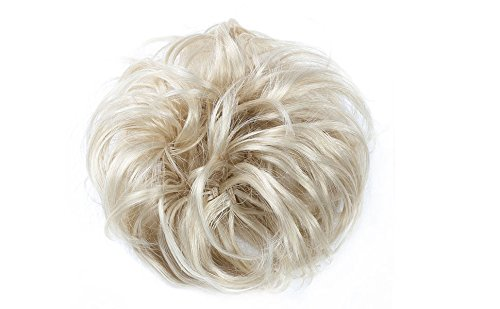 Merrylight Haargummi gelocktes unordentlicher Dutt Haarteil mit Gummi(0628A Blond-613W)