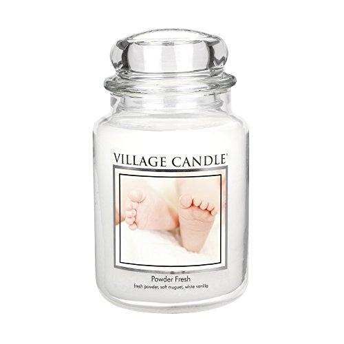Village Candle Puderfrische große Duftkerze im Glas, 737 g, weiß 9.8 x 9.5 cm