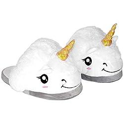 Funky Planet Zapatillas de Unicornio Blanco Felpa Pantuflas Animales Tamaño 36-41