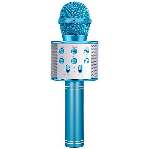 SUNTOY-Mikrofon für Mädchen Kid, Karaoke-Maschine für Mädchen Geschenk Alter 4-12 Kinder Mikrofon Spielzeug für 4-12 Jahre altes Mädchen Junge Mädchen Kinder Geburtstagsgeschenk für Mädchen MIC Blau