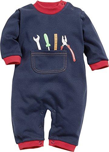 Playshoes Playshoes Baby - Jungen Schlafstrampler Schlafoverall Heimwerker 813042, Gr. 50, Blau (Blau 7)