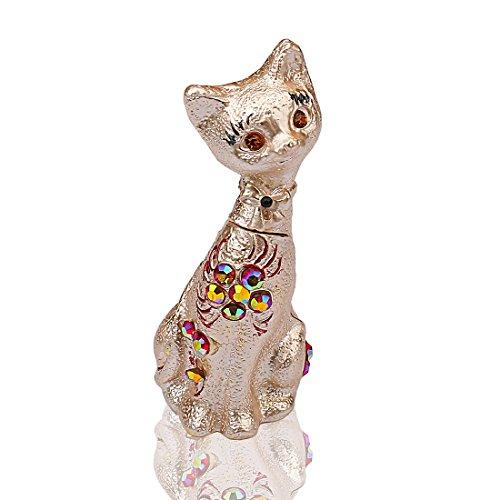 H&D Katze Zinn Figur Collectible Box Dekor mit Kristalle, Schmuckdose, Pillendose, Kätzchen Box Geschenk für Familie (Box Zinn Kommode)