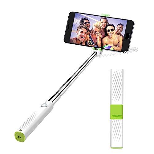 atongm Mini Selfie Stick, Bastone Selfie Estensibile per iPhone 4 / 4s / 5 / 5s / 6 / 6s, Samsung s6 / s7 / s8 Plus / j5 / a5, Huawei, HTC (iPhone, Android) Bianco