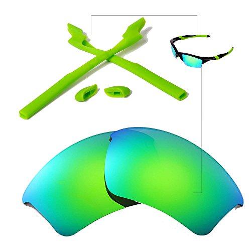 Walleva Wechselgläser Und Earsocks für Oakley Half Jacket 2.0 XL Sonnenbrille - Mehrfache Optionen (Smaragd Polarisierte Linsen + Grüner Gummi)