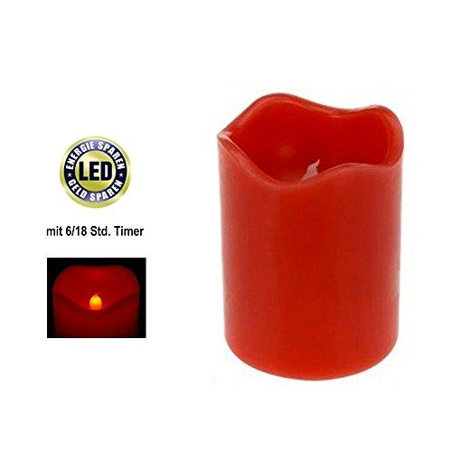 ToCi 4er-juego de luces LED de colour rojo de velas de cera con temporizador de diámetro de 7 x 9 cm en forma de corona de Adviento con forma de vela