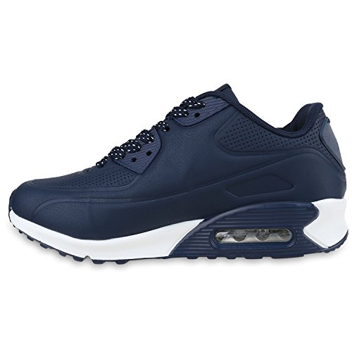 Damen Herren Unisex Sportschuhe Runners Sneakers Laufschuhe Trendfarben Dunkelblau Weiss Brooklyn