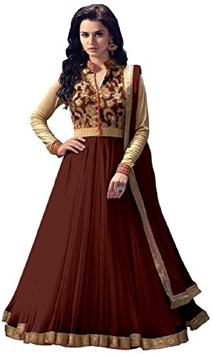 Women's Clothing Anarkali Suit Designer Party Wear Today Offers Low Price Sale Top Brown Color Banglori Silk Fabric Free Size Salwar Kameez Dress  available at amazon for Rs.499