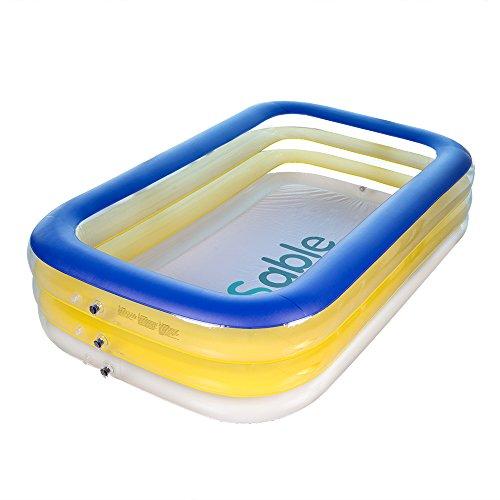 Sable Aufblasbares Schwimmbecken für 2 Erwachsene oder 3-5 Kinder 228 x 140 x 46 cm, Family Pool Schwimmbad Swimming Pool mit Flicken-Reparaturkit, Umweltfreundliches PVC und BPA-freie Konstruktion, 999 Liter / 264 Gallonen