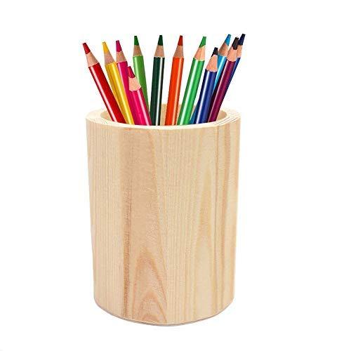 Da.wa portapenne in legno tinta unita portapenne semplice multifunzione portaoggetti da tavola rotondo contenitore di stoccaggio contenitore