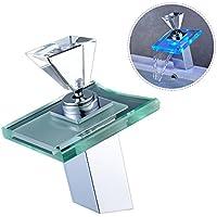 AuraLum® RGB rubinetto miscelatore di vetro LED cascata rubinetti del bacino per il bagno / stanza da bagno