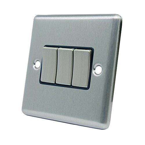 Dreifach Lichtschalter 3Gang–Satin Chrom matt–quadratisch–schwarz–Metall-Kippschalter–3Gang 2Weg 10Amp - Moderne Dreifach-schalter