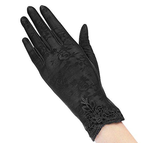 andschuhe Spitze Weiß Damenhaft Retro Handschuhe Edel Sommer Satin Handschuhe Dünner Abschnitt Lace für Hochzeit Opera Tanzparty Party Reiten Schwarz ()