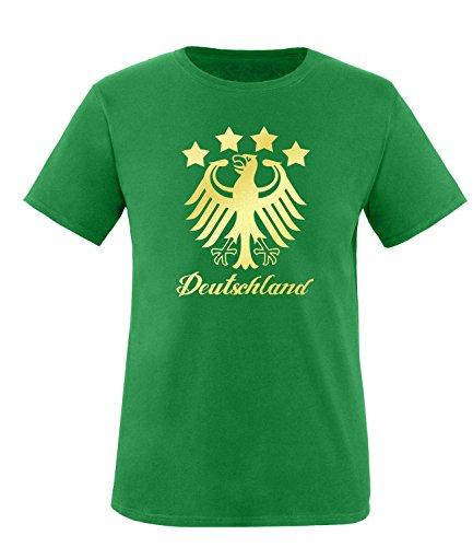 Luckja EM 2016 Deutschland Fanshirt Gold Edition M 01 Herren Rundhals T-Shirt Gruen/Gold