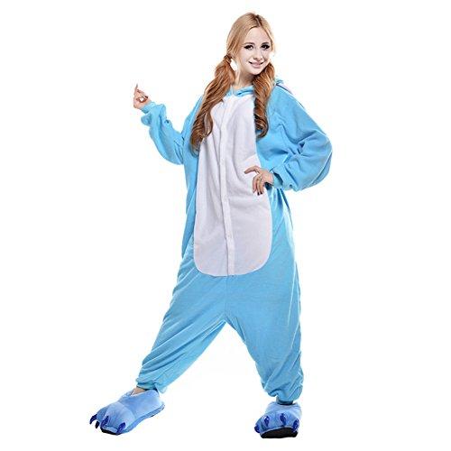 Elefanten Pj (Amurleopard Damen/Herren Cosplay Tierkostüm Schlafanzug Pyjamas Jumpsuit Overall Einteiler, Elefant Blau, XL (Körpergröße 178-188 CM))