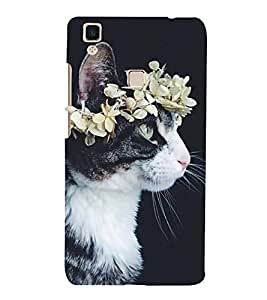 Cat with a Flower Crown Hard Polycarbonate Designer Back Case Cover for Vivo V3 Max