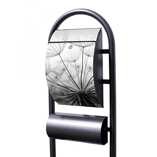 banjado - Design Stand Briefkasten mit Zeitungsrolle Metall schwarz 44x150x14cm mit Motiv Ready For Takeoff